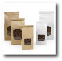 Order brown kraft, glossy white or flat white labels for your coffee bags