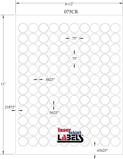 """.75"""" Circle White PolyGloss for Inkjet or Laser Printers Full Size Image #3"""