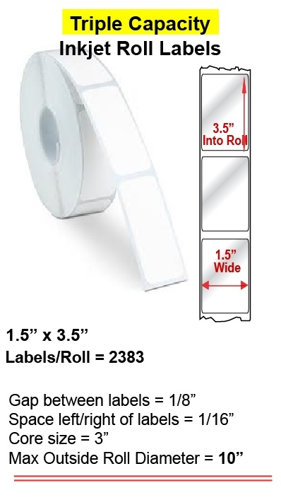 "1.5"" x 3.5"" INKJET ROLL LABELS Full Size Image #1"