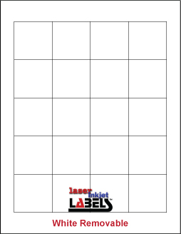 """1.8"""" x 1.8"""" SQUARE REMOVABLE WHITE LABELS Full Size Image #1"""