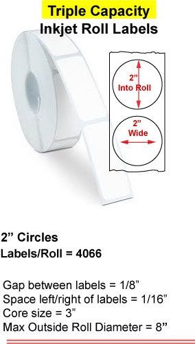 "2"" CIRCLE INKJET ROLL LABELS Full Size Image #1"