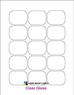 """2.0625"""" x 1.625"""" CLEAR LASER GLOSSY LABELS Full Size Image #1"""