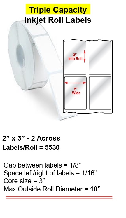 "2"" x 3"" INKJET ROLL LABELS Full Size Image #1"