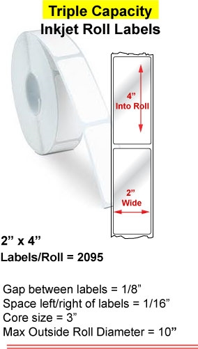 "2"" x 4"" INKJET ROLL LABELS Full Size Image #1"