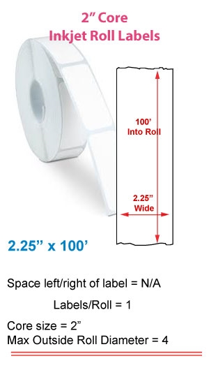 """2.25"""" x 100' ROLL LABELS FOR PRIMERA LX400 Full Size Image #1"""