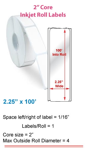 "2.25"" x 100' ROLL LABELS FOR PRIMERA LX400 Full Size Image #1"