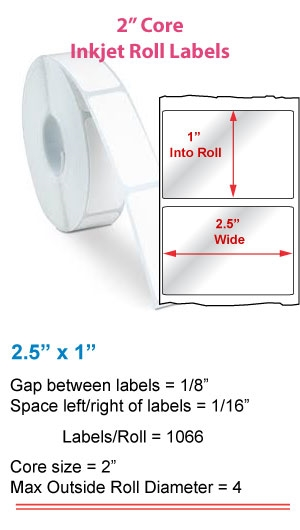"2.5"" x 1"" ROLL LABELS FOR PRIMERA LX400 Full Size Image #1"