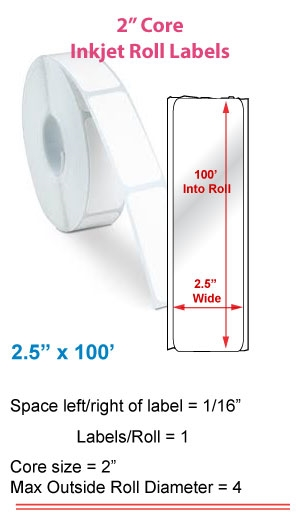 "2.5"" x 100' ROLL LABELS FOR PRIMERA LX400 Full Size Image #1"