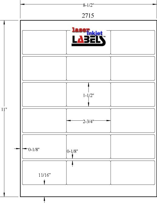 """2.625"""" x 1.25"""" RECTANGLE REMOVABLE WHITE LABELS Full Size Image #3"""