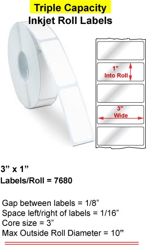 "3"" x 1"" RECTANGLE INKJET ROLL LABELS Full Size Image #1"