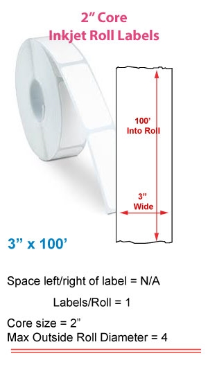 "3"" x 100' INKJET ROLL LABELS Full Size Image #1"