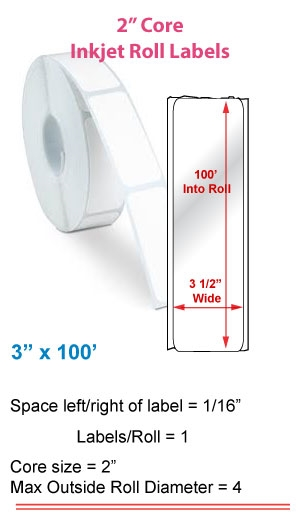 "3"" x 100' INKJET ROLL LABELS Full Size Image #1"