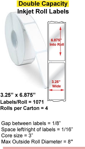 """3.25"""" x 6.875"""" INKJET DOUBLE CAPACITY ROLL LABELS Full Size Image #1"""