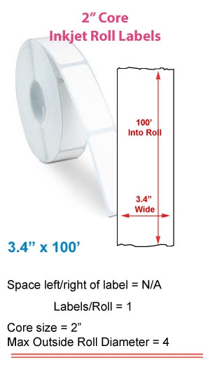 "3.4"" x 100' INKJET ROLL LABELS Full Size Image #1"