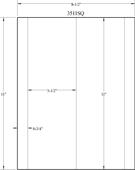"""3.5"""" x 11"""" RECTANGLE REMOVABLE WHITE LABELS Full Size Image #3"""