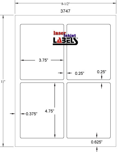 "3.75"" x 4.75"" RECTANGLE WHITE POLY LASER LABELS Full Size Image #2"