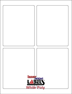 "3.75"" x 4.75"" RECTANGLE WHITE POLY LASER LABELS Full Size Image #1"