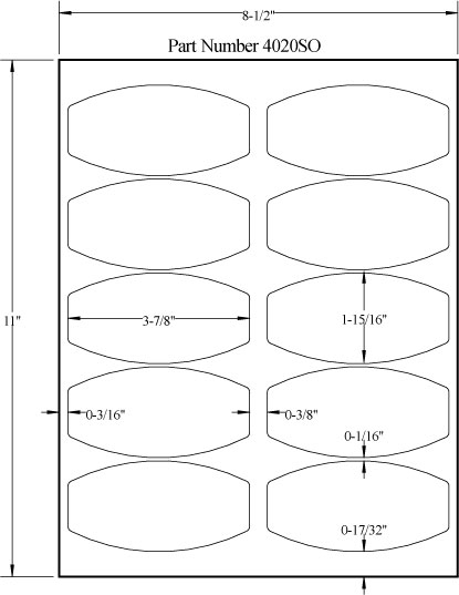 """4"""" x 2"""" SQUARED OVAL REMOVABLE WHITE LABELS Full Size Image #3"""