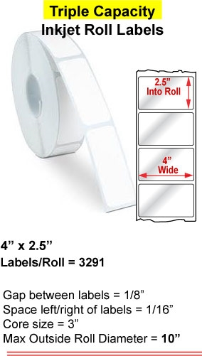 "4"" x 2.5"" INKJET ROLL LABELS Full Size Image #1"