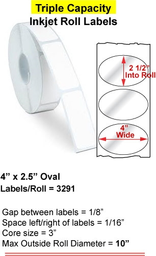 "4"" x 2.5"" OVAL INKJET ROLL LABELS Full Size Image #1"