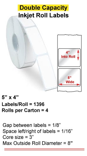 """5"""" x 4"""" INKJET DOUBLE CAPACITY ROLL LABELS Full Size Image #1"""