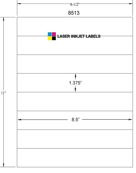 """8.5"""" x 1.375"""" WHITE SEMI-GLOSS for INKJET Full Size Image #3"""