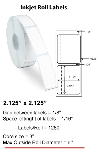 "2.125"" x 2.125"" INKJET ROLL LABELS Full Size Image #1"