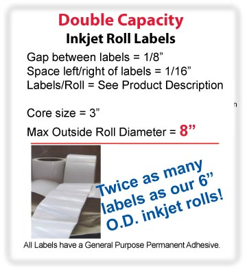 "1.25"" x 8.5"" INKJET DOUBLE CAPACITY ROLL LABELS Full Size Image #2"