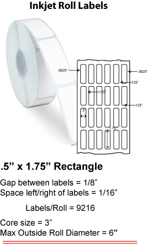 "0.5"" x 1.75"" INKJET ROLL LABELS Full Size Image #1"