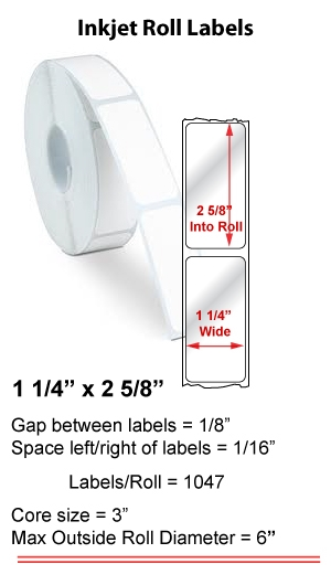 "1.25"" x 2.625"" INKJET ROLL LABELS Full Size Image #1"