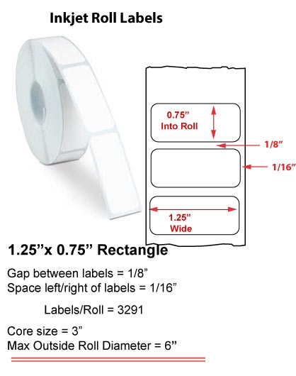 "1.25"" x 0.75"" INKJET ROLL LABELS Full Size Image #1"