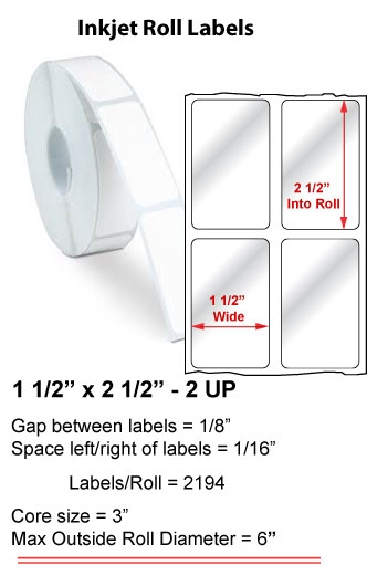 """1.5"""" x 2.5"""" 2 UP INKJET ROLL LABELS Full Size Image #1"""