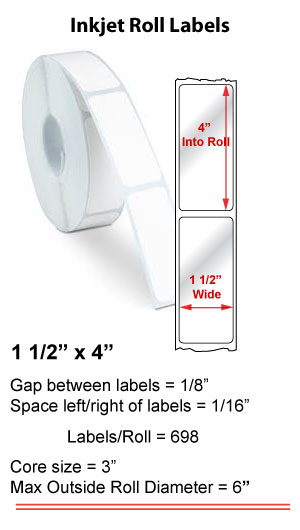 "1.5"" x 4"" INKJET ROLL LABELS Full Size Image #1"