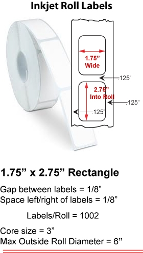 "1.75"" x 2.75"" INKJET ROLL LABELS Full Size Image #1"