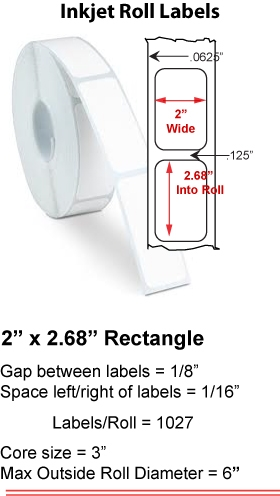"2"" x 2.68"" INKJET ROLL LABELS Full Size Image #1"