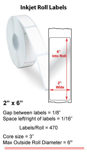 "2"" x 6"" INKJET ROLL LABELS Full Size Image #1"