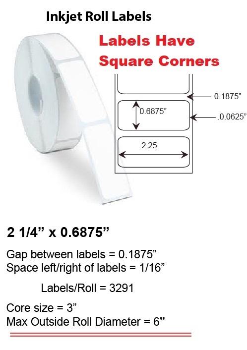 "2.25"" x 0.6875"" INKJET ROLL LABELS Full Size Image #1"