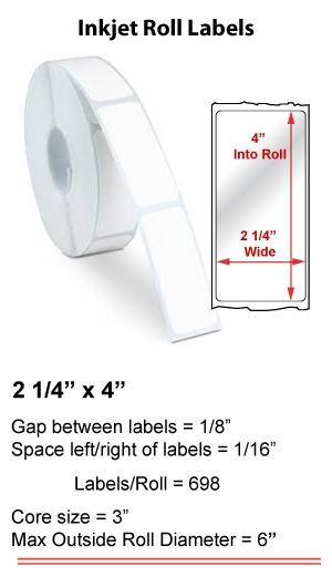 "2.25"" x 4"" INKJET ROLL LABELS Full Size Image #1"
