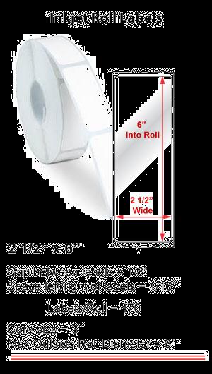 "2.5"" x 6"" INKJET ROLL LABELS Full Size Image #1"