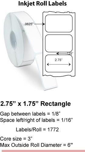 "2.75"" x 1.75"" INKJET ROLL LABELS Full Size Image #1"