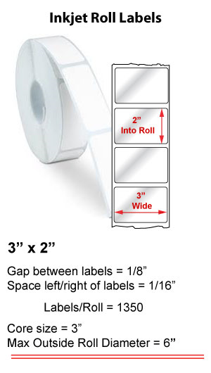 "3"" x 2"" INKJET ROLL LABELS Full Size Image #1"