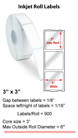 "3"" x 3"" INKJET ROLL LABELS Full Size Image #1"