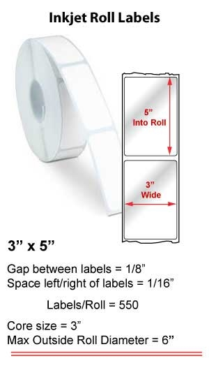 "3"" x 5"" INKJET ROLL LABELS Full Size Image #1"