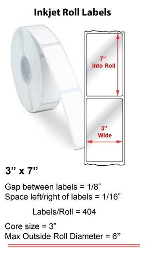 "3"" x 7"" INKJET ROLL LABELS Full Size Image #1"