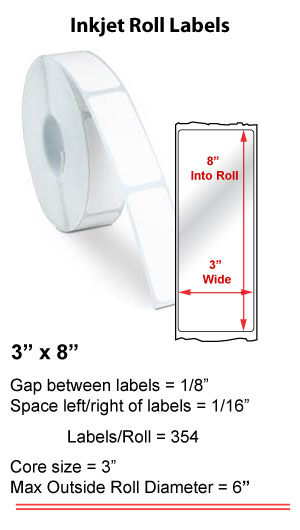 "3"" x 8"" INKJET ROLL LABELS Full Size Image #1"