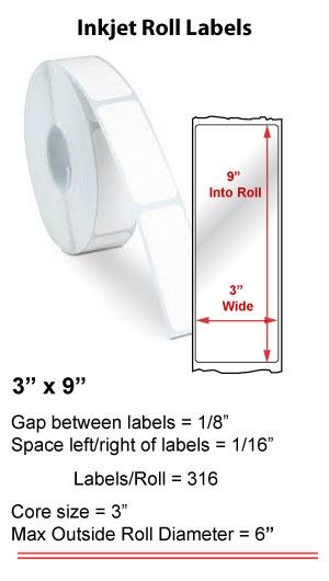 "3"" x 9""  INKJET ROLL LABELS Full Size Image #1"