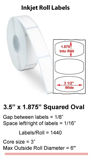 "3.5"" x 1.875"" SQUARED OVALS INKJET ROLL LABELS Full Size Image #1"