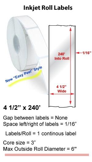 "4.5"" x 240' INKJET ROLL LABELS Full Size Image #1"