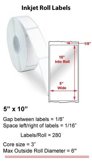 "5"" x 10"" INKJET ROLL LABELS Full Size Image #1"