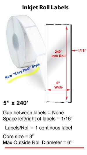 "5"" x 240' INKJET ROLL LABELS Full Size Image #1"